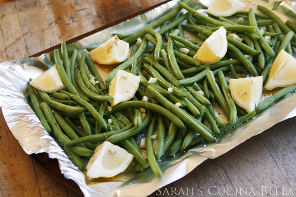 Lemon Garlic Roasted Green Beans