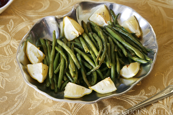 Roasted Lemon Garlic Green Beans on Serving Dish