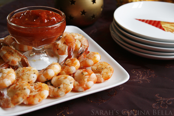 Roasted Shrimp Cocktail with Spicy Sriracha Cocktail Sauce