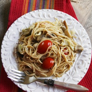 Easy Veggie Scampi with Whole Wheat Thin Spaghetti