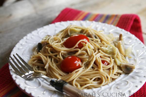 Veggie Scampi with Thin Spaghetti