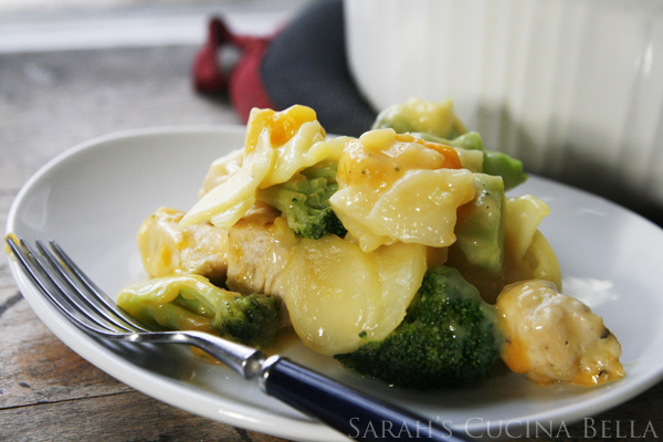 Cheesy Chicken Broccoli Potato Au Gratin