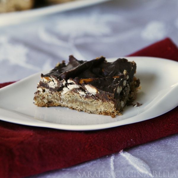 Chocolate Pretzel Peanut Butter Bars (Christmas Cookies)