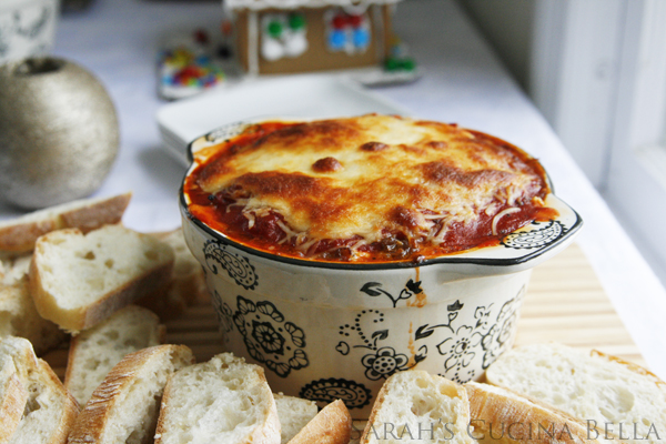 Hot and Bubbly Sausage Lasagna Dip