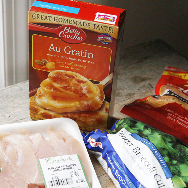 Ingredients for Cheesy Chicken Broccoli Potato Casserole
