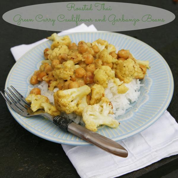 Roasted Thai Green Curry Cauliflower and Garbanzo Beans