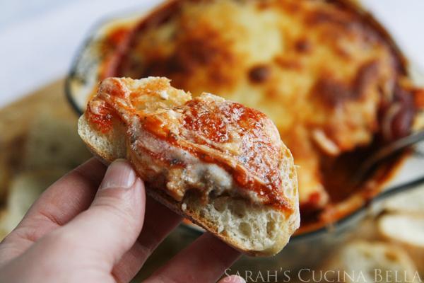 Sausage Lasagna Dip on Bread