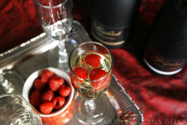 Sparkling Wine with Raspberries