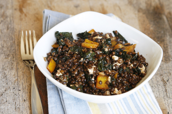 Balsamic Kale and Beluga Lentils