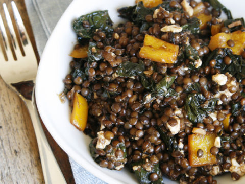 Balsamic Kale And Black Lentils With Feta Sarah S Cucina Bella