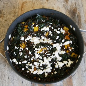 Balsamic Kale and Black Lentils with Feta