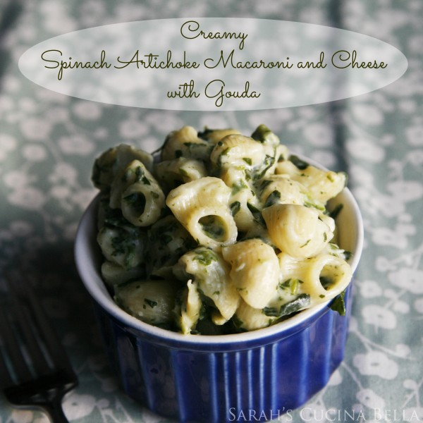 Creamy Spinach Artichoke Macaroni and Cheese with Gouda