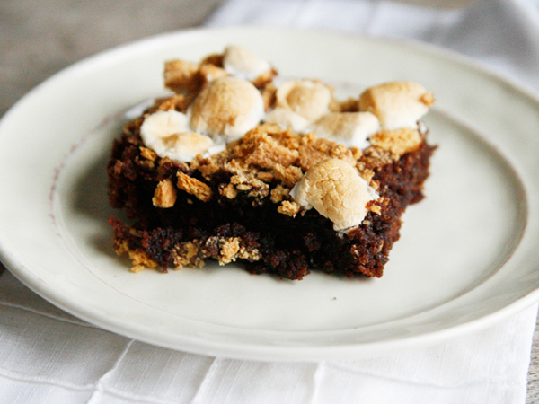 smores brownies on a plate
