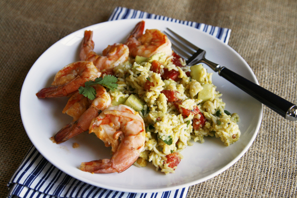 Zesty Mango Chile Shrimp and Rice