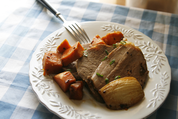Korean BBQ Pot Roast and Sweet Potatoes