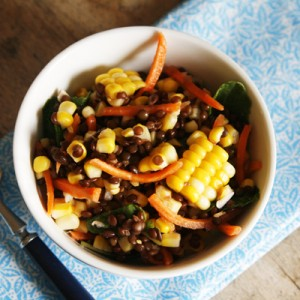 Lemon Garlic Corn and Black Lentil Salad