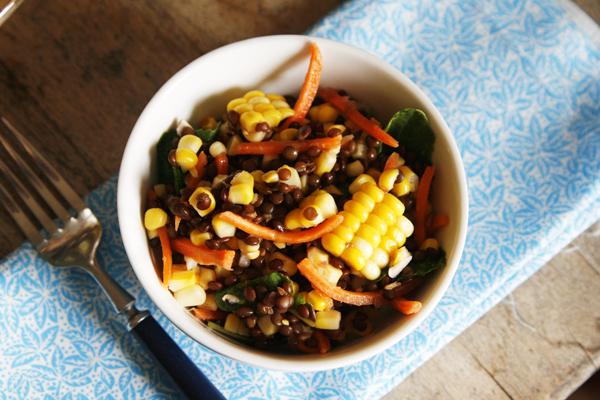 Lemon Garlic Corn and Black Lentil Salad