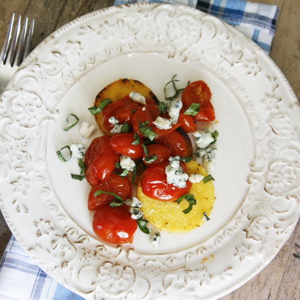 Polenta with Tomato Basil Sauce and Blue Cheese