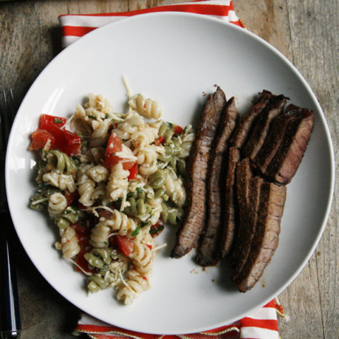 Chili Garlic Steak with Cheesy Veggie Caesar Pasta Salad