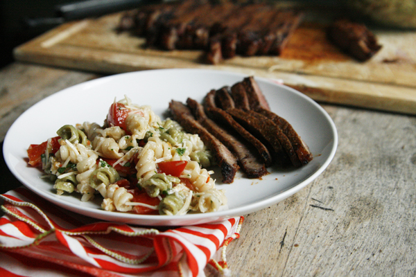 Chili Garlic Steak with Cheesy Veggie Caesar Pasta Salad (Summer Grilling)