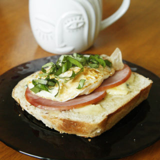 Open-Face Ham, Cambozola and Egg Sandwiches with Basil