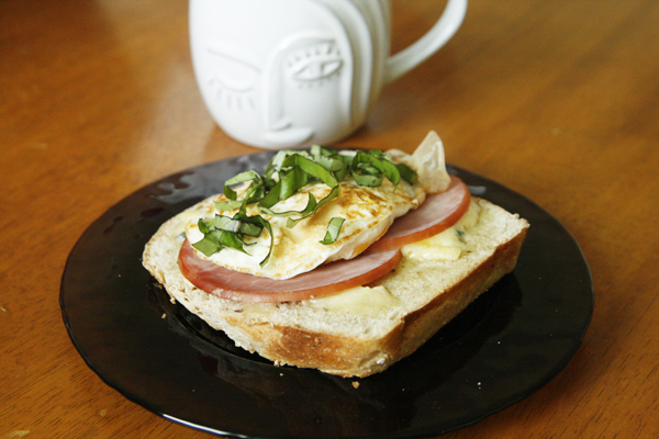 Open-Face Ham, Cambozola and Egg Breakfast Sandwich with Basil