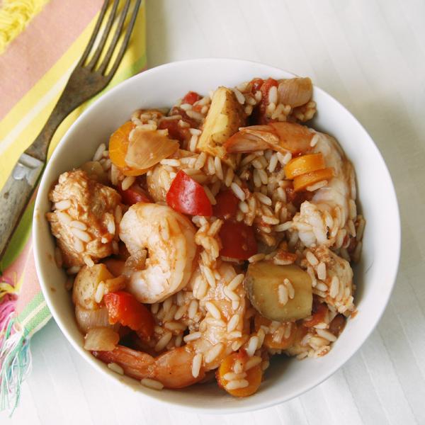 Slow Cooker Chicken and Shrimp Jambalaya
