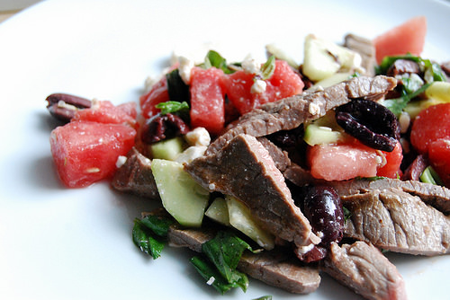 Steak and Watermelon Salad with Olives Feta Basil