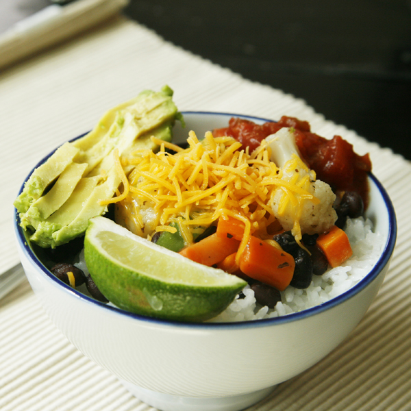 Quick and Easy Veggie Black Bean Rice Bowls recipe