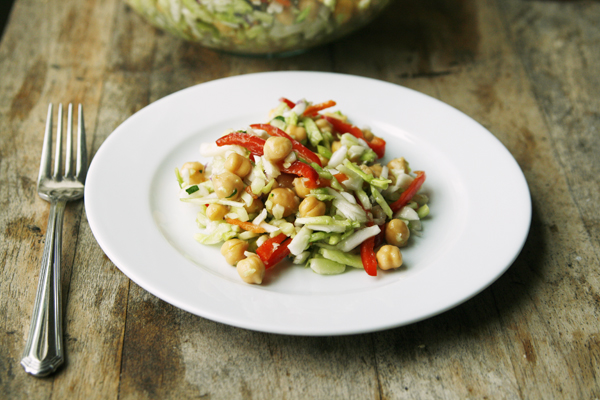 Raspberry Vinaigrette Slaw with Garbanzo Beans and Red Peppers