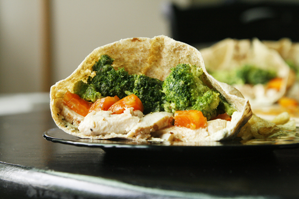 Chicken Veggie Pita Pockets Sandwich