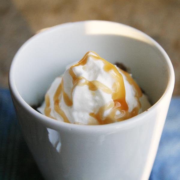 Chocolate Caramel Macchiato Mug Cake with Whipped Cream