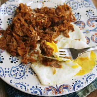 Leftover Pulled Pork with a Fried Egg