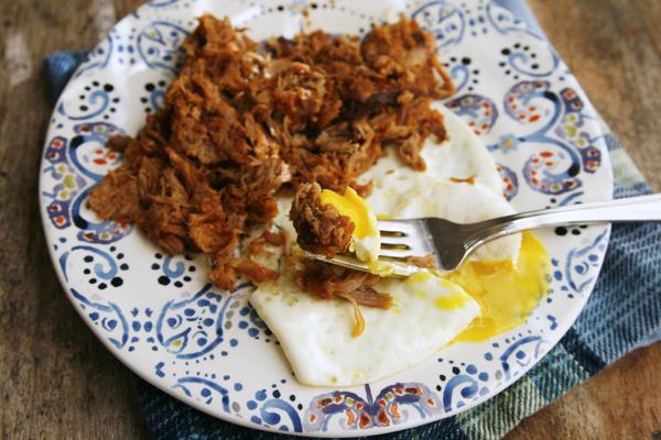 Leftover Pulled Pork with Fried Egg