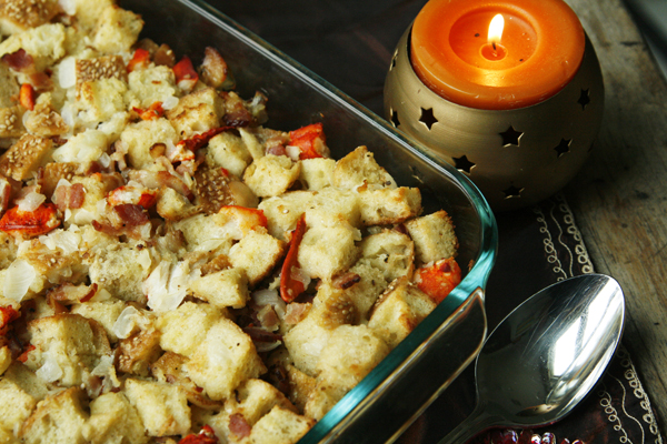 Buttery Lobster Bacon Stuffing