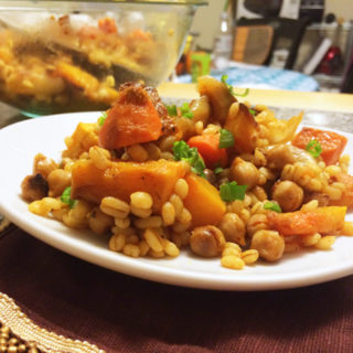Spicy Sriracha Honey Roasted Vegetables with Barley