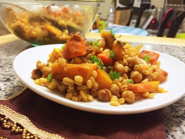 Spicy Sriracha Honey Roasted Vegetables with Barley