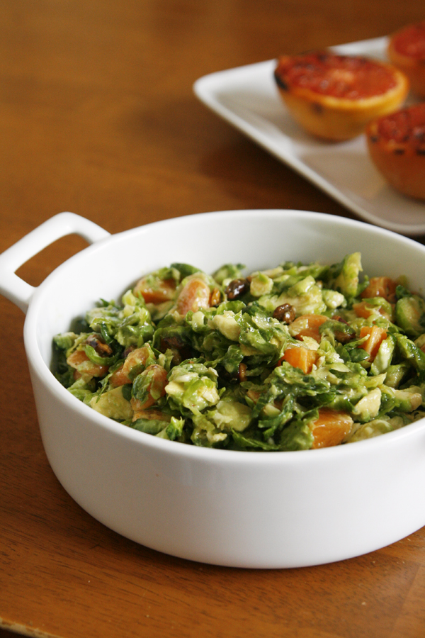 Brussels Sprouts Salad with Grapefruit Vinaigrette | A light, tangy salad with avocado, clementines and more