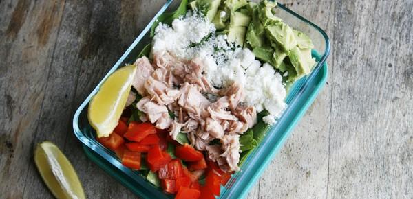 Tuna, Avocado and Feta Salad with Lemon