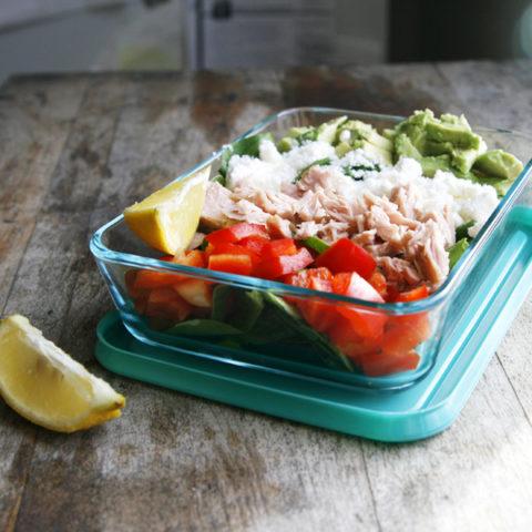 Tuna, Avocado and Feta Salad with Lemon for Two