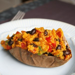 Spicy Stuffed Sweet Potatoes