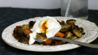 Sweet Potato, Brussels Sprouts and Bacon Hash