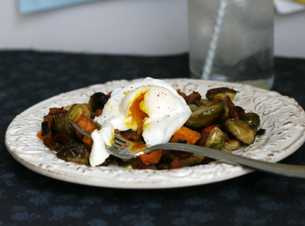 Sweet Potato Brussels Sprouts Bacon Hash