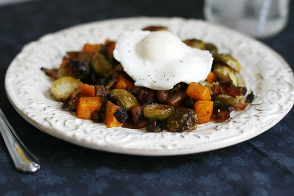 Sweet Potato Brussels Sprouts and Bacon Hash