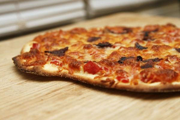 Homemade Tomato Chile Bacon Pizza