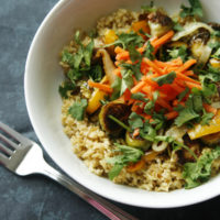 Roasted Vegetable Bowl with Pickled Carrots and Freekeh