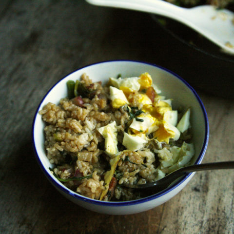 Andouille, Broccoli Rabe and Spinach Fried Rice