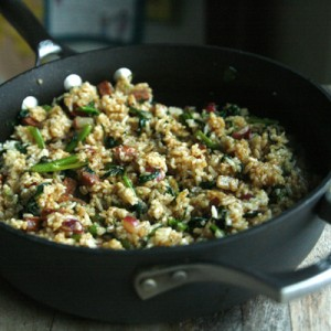 Andouille Broccoli Rabe Spinach Fried Rice recipe