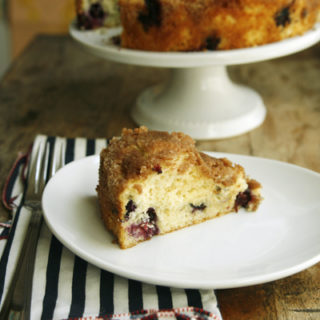 Slice of Old-Fashioned Blueberry Coffee Cake