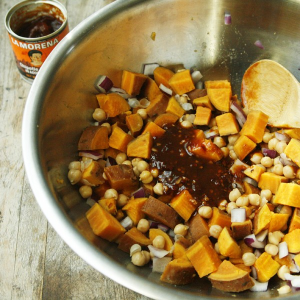 making Spicy Chipotle Sweet Potato Salad